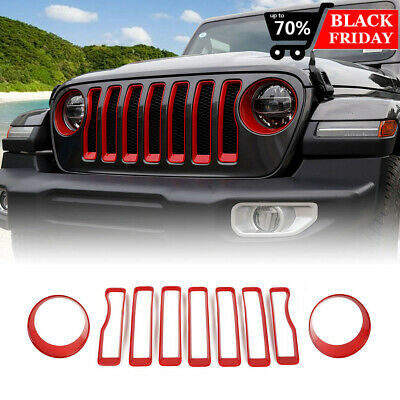 Headlight and Front Grille Inserts Trim Cover for 2018 2019 Jeep Wrangler JL Sport//Sports