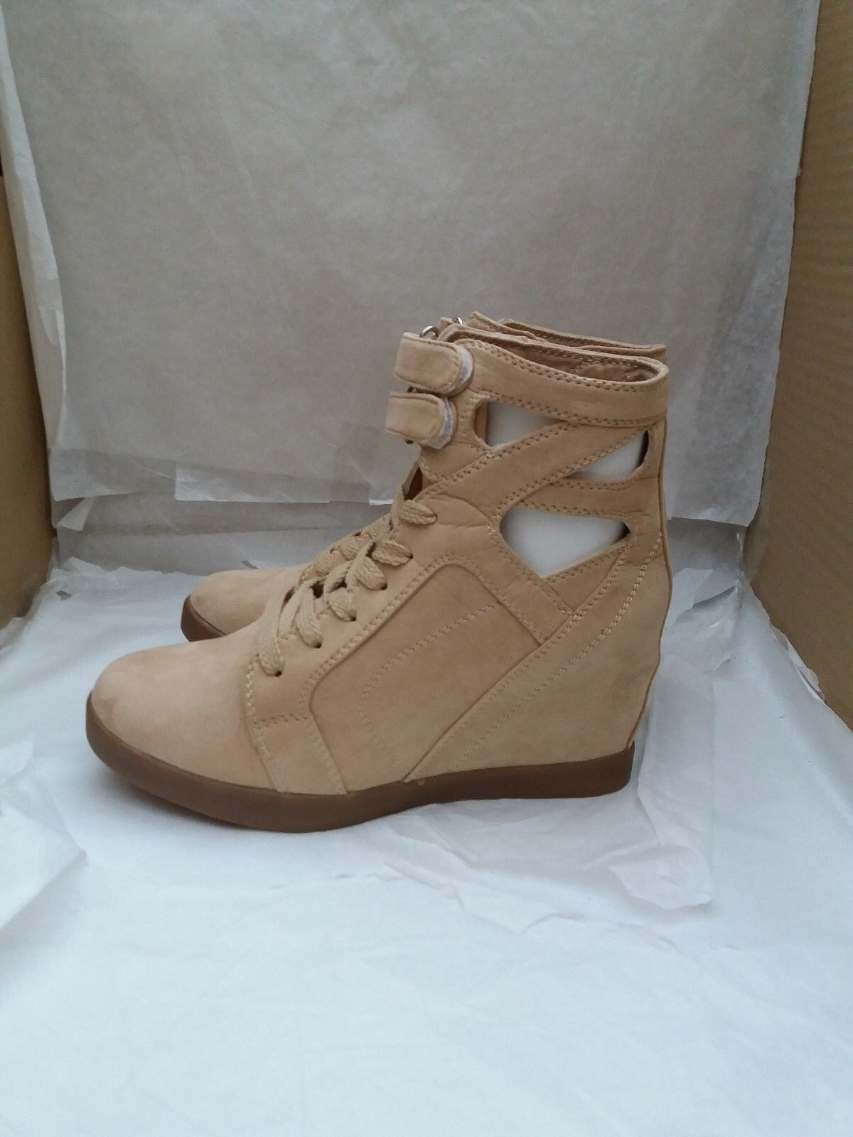 Ladies Hidden Wedge Suede Ankle Boots Lace-Up & Top Fasten - Size Camel