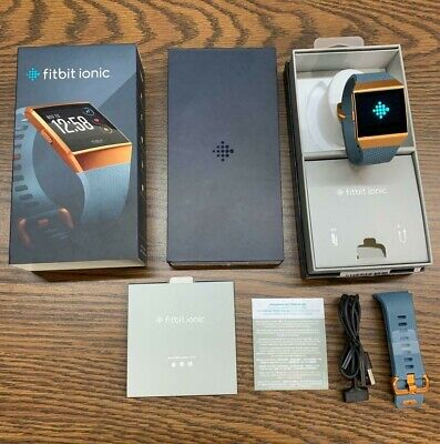 Fitbit IONIC Smartwatch Slate Blue//Burnt Orange One Size S /& L Bands Included