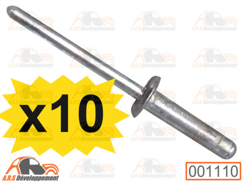 1110 10 RIVETS aluminium spécial ABS pour montage carrosserie Citroen MEHARI
