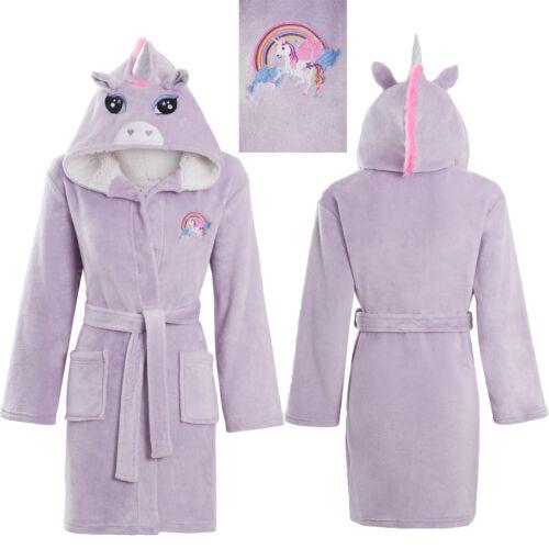 Le Ragazze Soft /& Cosy Pile 3D Rainbow Unicorno Vestaglia Accappatoio Età 5-13 anni