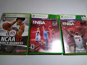 Xbox-360-Basketball-Sports-Lot-NCAA-March-Madness-07-NBA-2k13-2k14-2013-2014