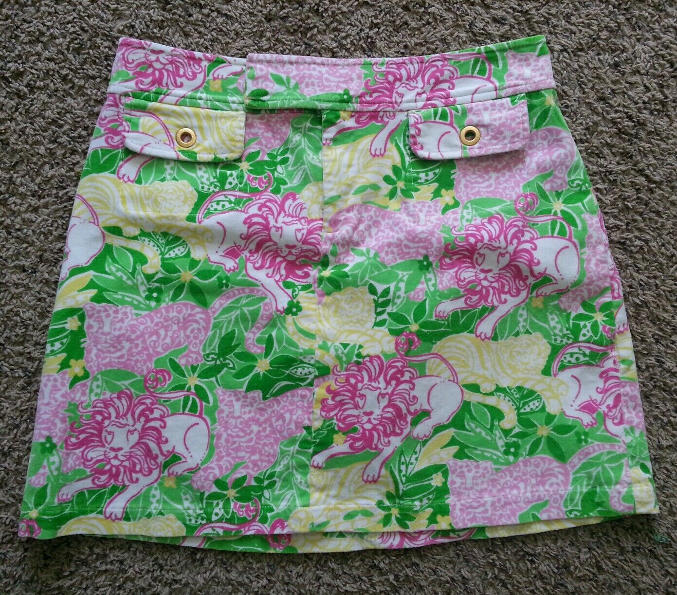 Lilly Pulitzer Animal Crackers Floral Lion Corduroy Mini Skirt 8