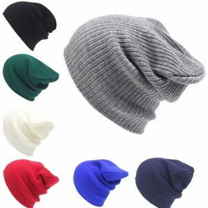 Mens Ladies Knitted Soft Woolly Winter Oversized Ski Beanie Hat Cap skateboard