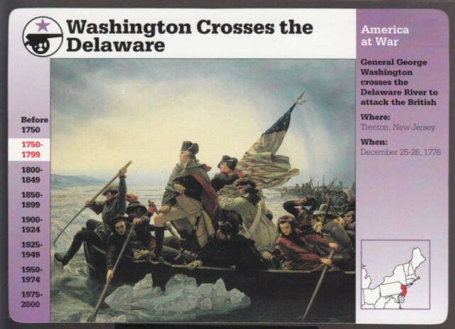 GEORGE WASHINGTON CROSSES THE DELAWARE RIVER Grolier Story of America CARD