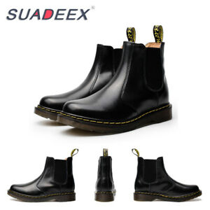 Womens-Casual-Leather-Ankle-Chelsea-Boots-Slip-on-Fashion-Combat-Shoes-Black