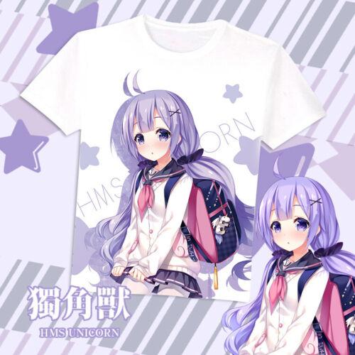 Anime Azur Lane Unicorn Casual Short Sleeve T-shirt Tops Unisex Tee Cosplay #K22
