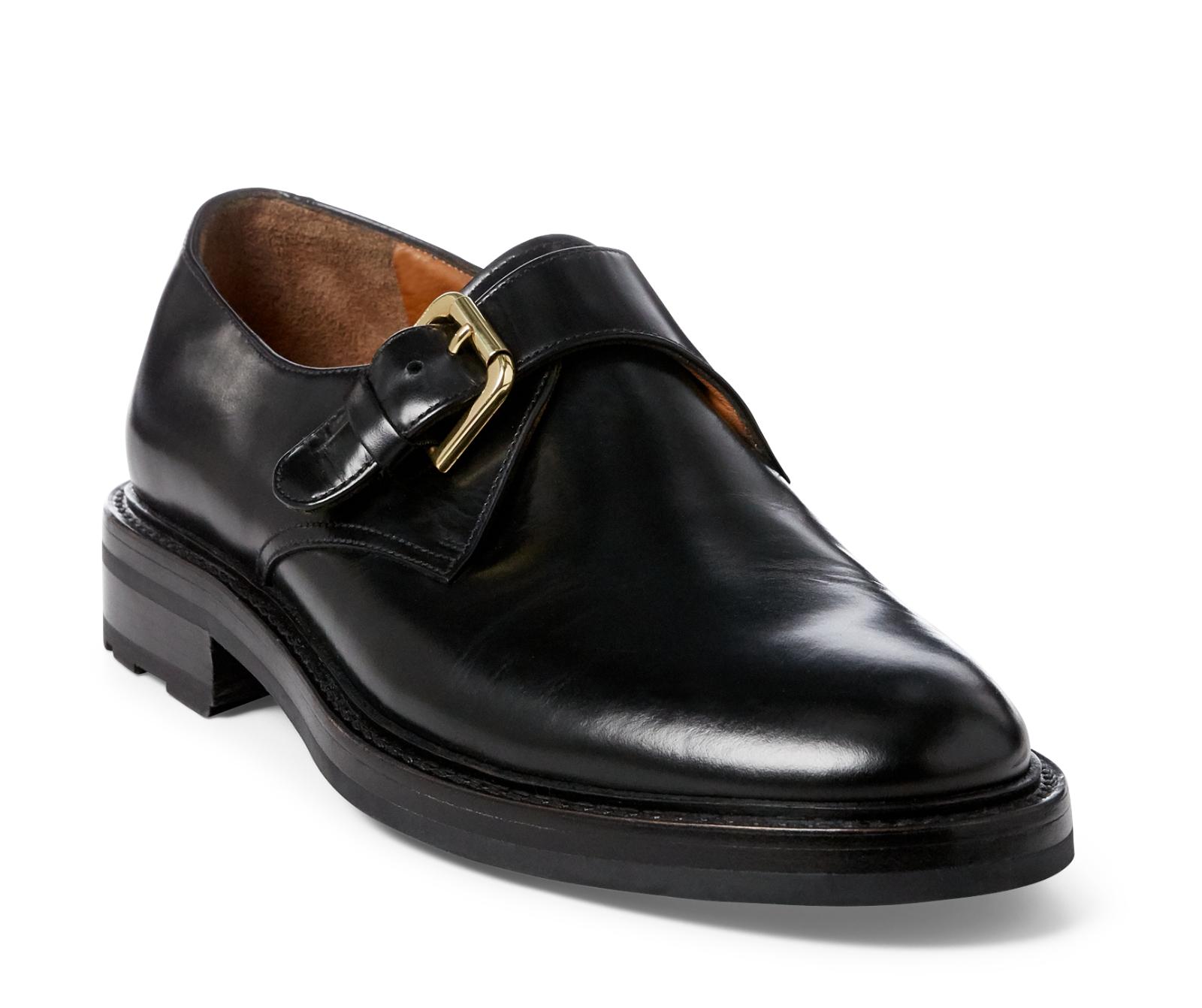 RALPH LAUREN violet Label cuir Keven Monk Strap chaussures NEW  795