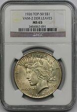 1926 VAM-2 DDR Leaves Peace Dollar $1 MS 65 NGC