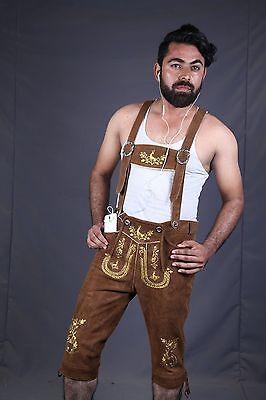 Mens Oktoberfest Bavarian Leather Long LEDERHOSEN Matching Premium Suspender LB