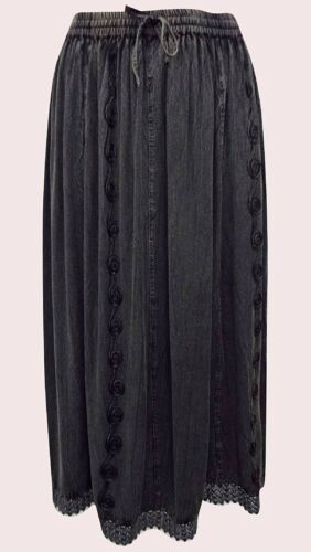 NEW EAONPLUS BLACK Cathedral Lace Embroidered Skirt Plus Sizes UK 18 to 28