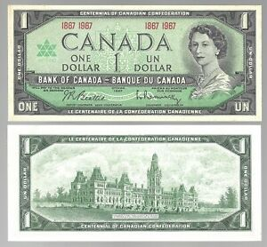 Canada-One-1-Dollar-1-1867-1967-Almost-UNC-Banknotes
