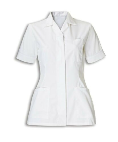 WOMENS NURSES HEALTHCARE TUNIC DENTAL SALON NHS WHITE WITH COLOURED TRIM INS32WH