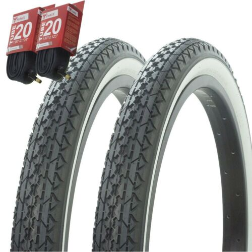 """1PAIR Bicycle Bike Tires /& Tubes 20/"""" x 2.125/"""" Black//White Side Wall P-123A"""