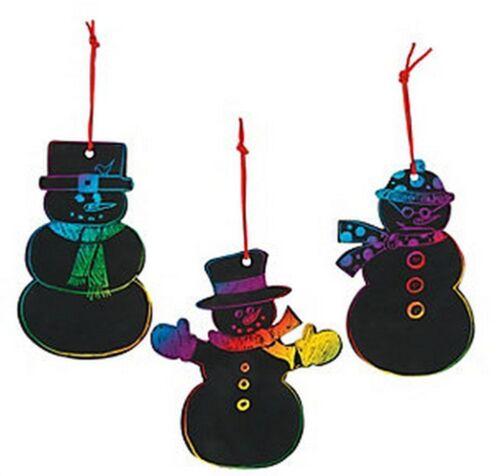 24 Pieces Magic Color Scratch Snowman Christmas Ornaments