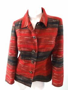 COLDWATER-CREEK-WOMENS-RED-amp-BLACK-POLY-ACRYLIC-BLAZER-JACKET-SIZE-PS