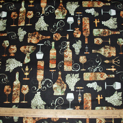 Perfectly Vintage Cotton Fabric Grapes Wine Glass Bottle Toss Beige Fabric BHTY