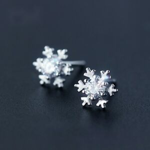 Damen-echt-925-sterling-Silber-Mini-Schneeflocken-Ohrringe-Ohrstecker-Statement
