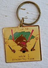 """Vintage """"Excuse Me Ihile I Power My Nose"""" Cartoon Car Key Brass Ring Chain"""