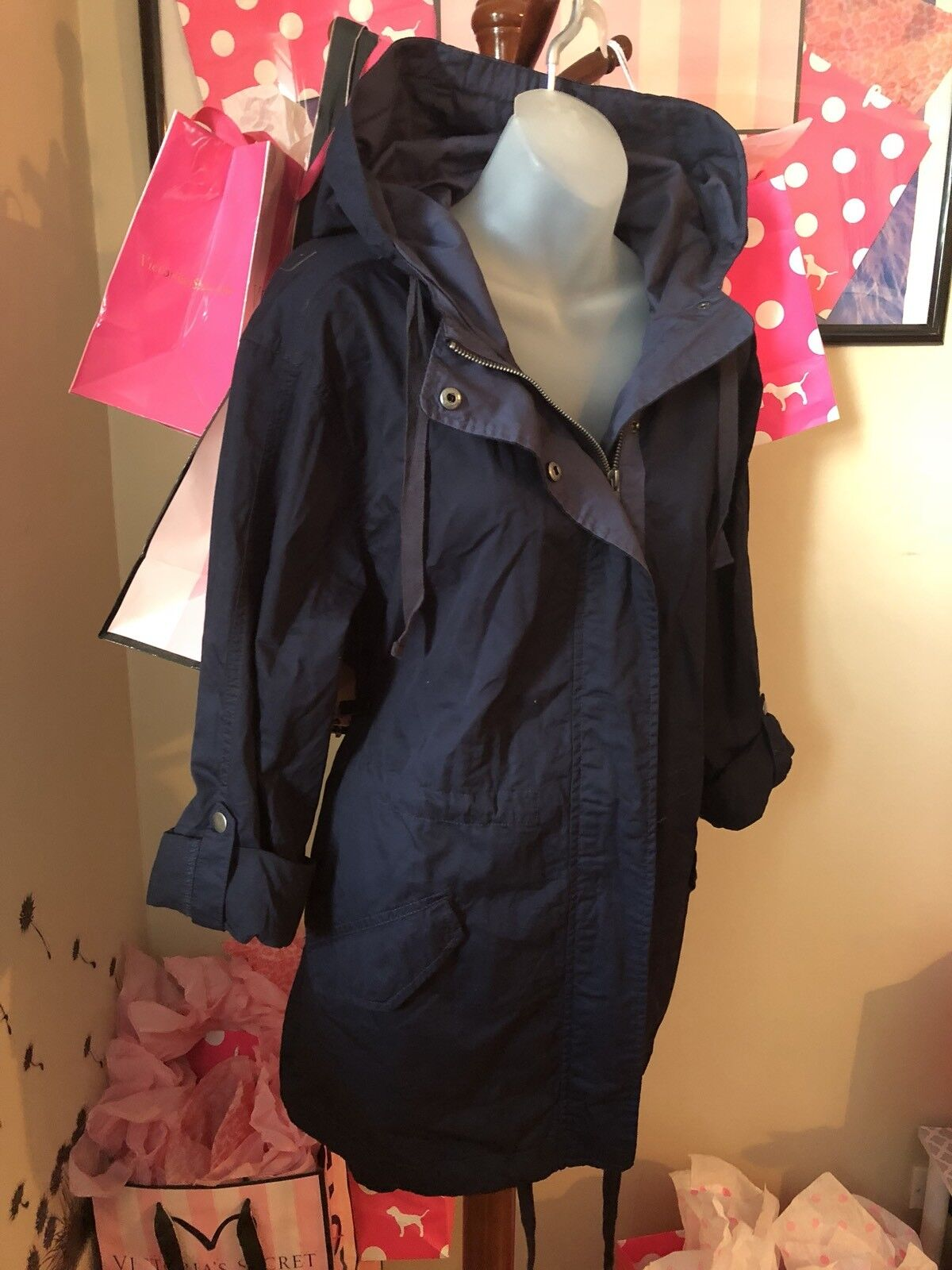 Sebby Collection Women's Lightweight Tactical Trenchcoat Navy bluee -Large