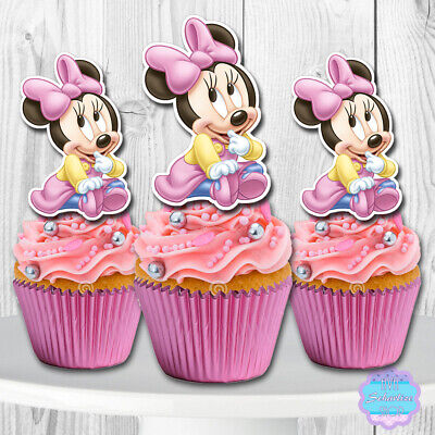 Strange Set Of 12 Baby Minnie Mouse Cupcake Toppers Cupcake Picks Funny Birthday Cards Online Unhofree Goldxyz