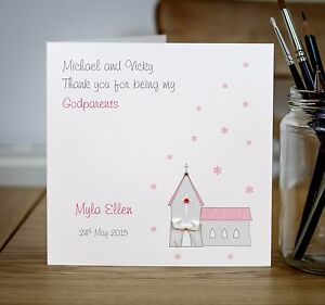 Handmade Personalised Christening Godparent Thank You Card