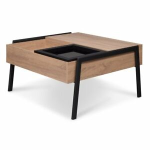 Acme Fakhanu Coffee Table In Rustic Natural And Black With Lift Top