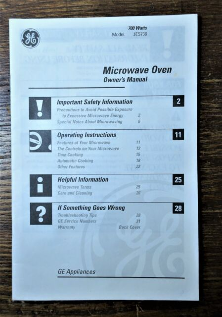 general electric model jes738 microwave oven owner s instruction rh ebay com general electric refrigerator instruction manual general electric dishwasher user manual