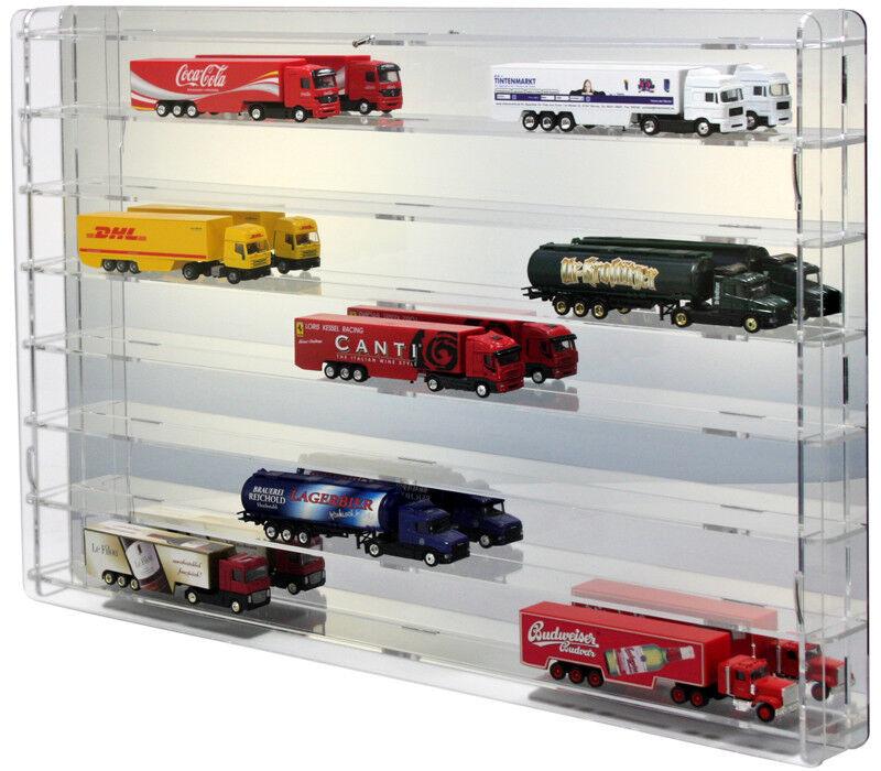 Sora modelltruckvitrine 1 87 con verspiegelter plano posterior para 21 Trucks