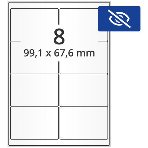 800 blickdichte Korrektur Etiketten Abdecketiketten A4 99x68 mm