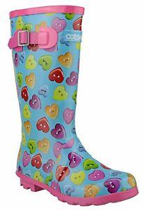 Detalles de Cotswold Botón Corazón Impermeable Infantil Botas de Agua Botas Agua UK8 5