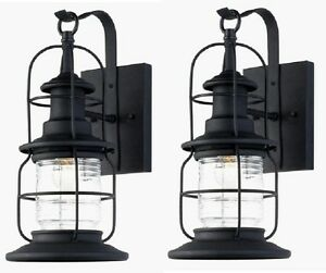 Details About 2 Pack Black Outdoor Wall Mount Jelly Jar Lantern Lights Exterior Glass Lot