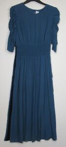 New-Marks-amp-Spencer-Blue-Shirred-Waist-Midi-Dress-Size-10-18