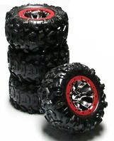 Summit Tires (canyon At 17mm Red Wheels (set 4 Factory Glued Traxxas 5607