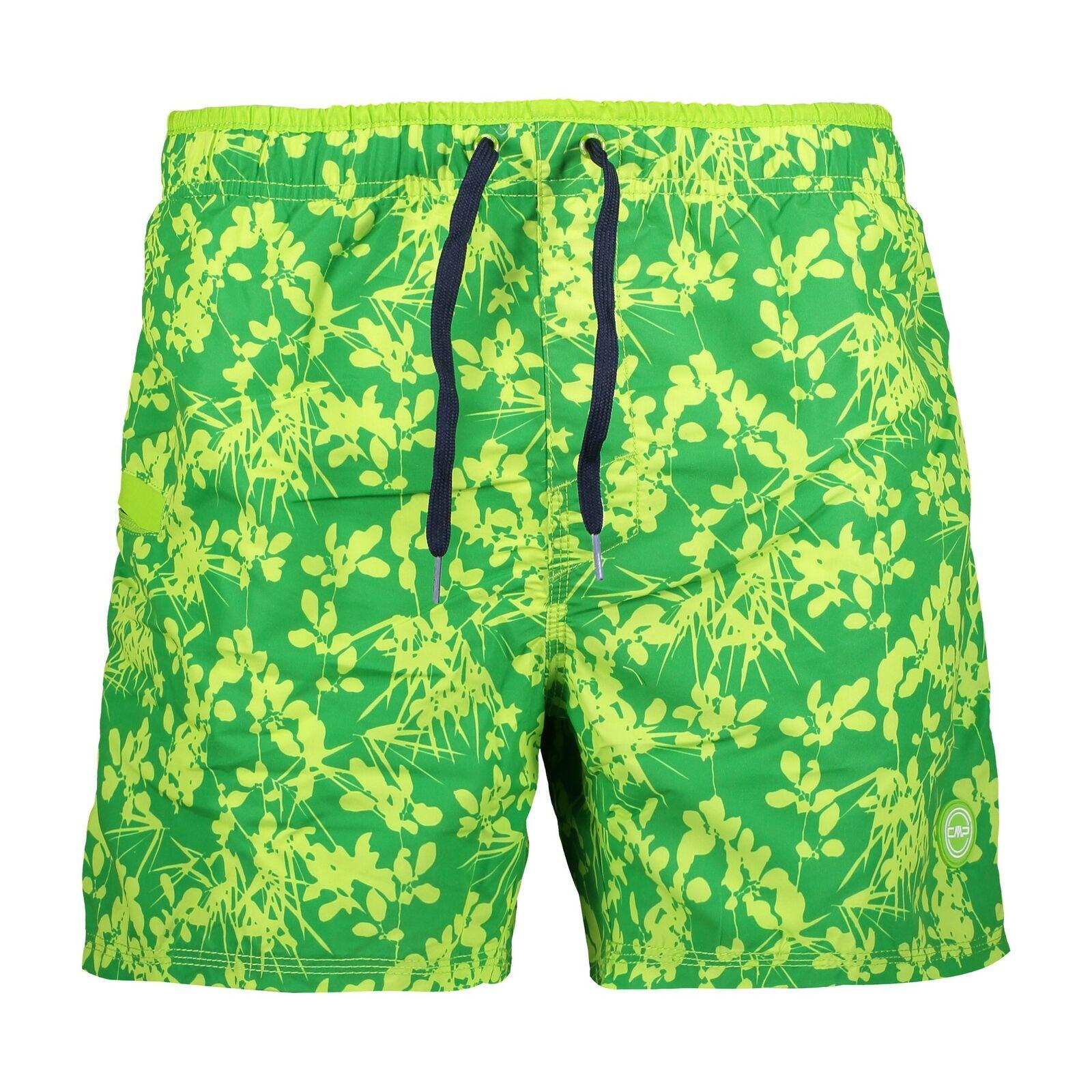 CMP Short Bañador Man Shorts green Estampado Flores Microfibra Parche Logo