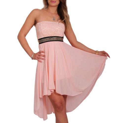 Damen Kleid Mini Cocktail Abendkleid Trägerlos Tanzkleid Strass Chiffon 34//36//38