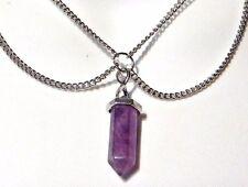 AMETHYST QUARTZ PENDANT silver double chain multi-strand necklace crystal Q5