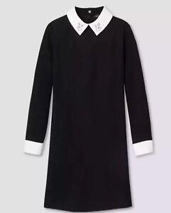 2x-Victoria-Beckham-for-Target-Womens-Black-Dress-Rabbit-bunny-mod-Collar-NWT