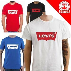 T-Shirt-Levi-039-s-maglia-maglietta-nera-bianca-rossa-personalizzata