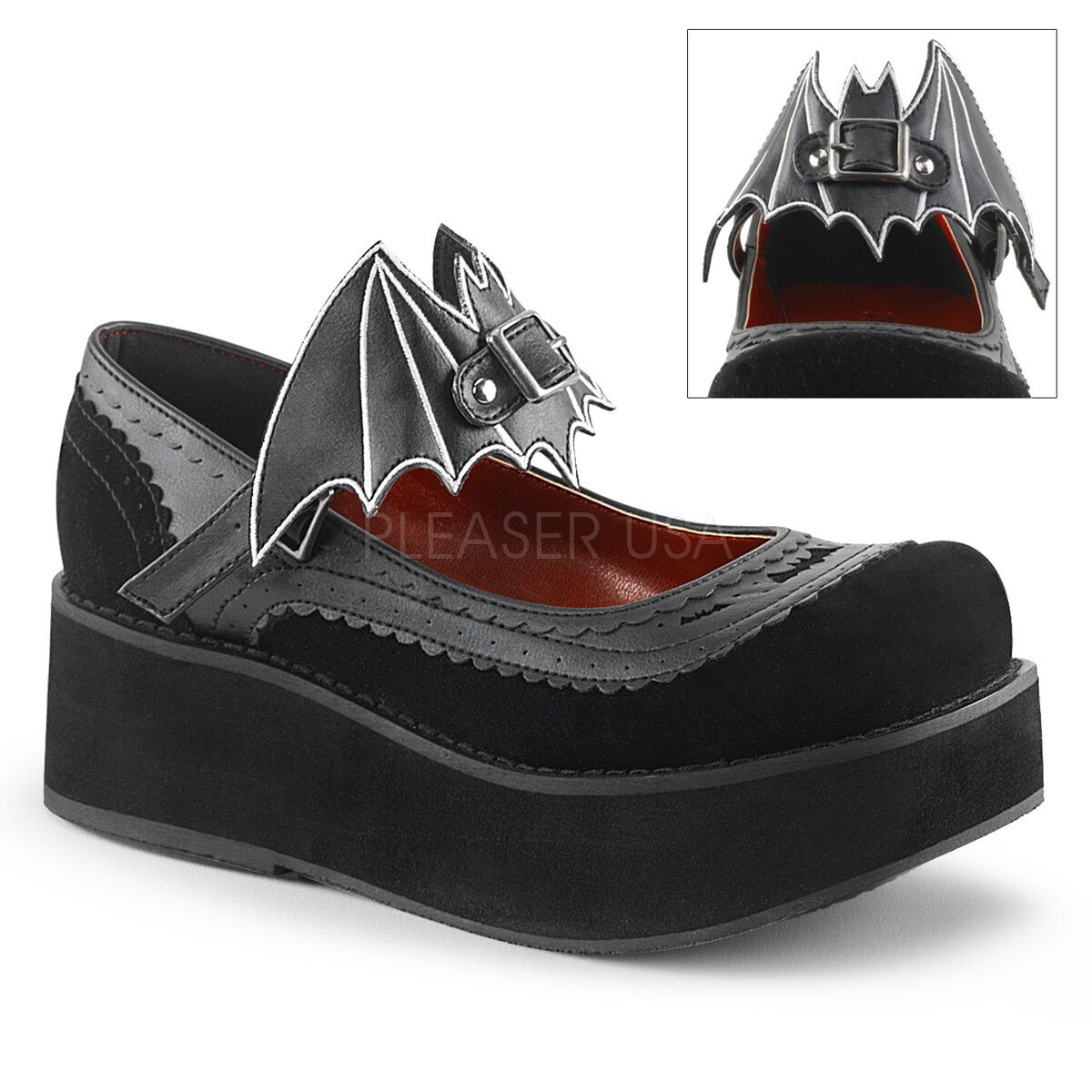 DEMONIA Gothic Lolita 2 1 4  Platform Mary Janes shoes Removable Bat Cut-Out