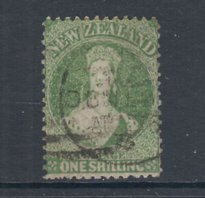 New-Zealand-Sc-37a-SG-125-used-1864-72-1sh-dull-yellow-green-scarce-colorCert