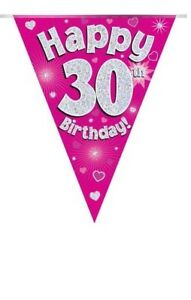30TH-BIRTHDAY-PARTY-BUNTING-BANNER-PINK-HOLOGRAPHIC-11-FLAGS-3-9M