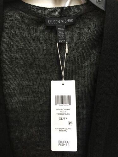 S Eileen Fisher Black Fine Linen Crepe Knit Tie Front Short Cardigan XS L