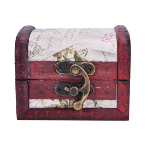 Vintage Stamp Mini Metal Lock Jewelry Treasure Chest Case Handmade Wooden Box LD