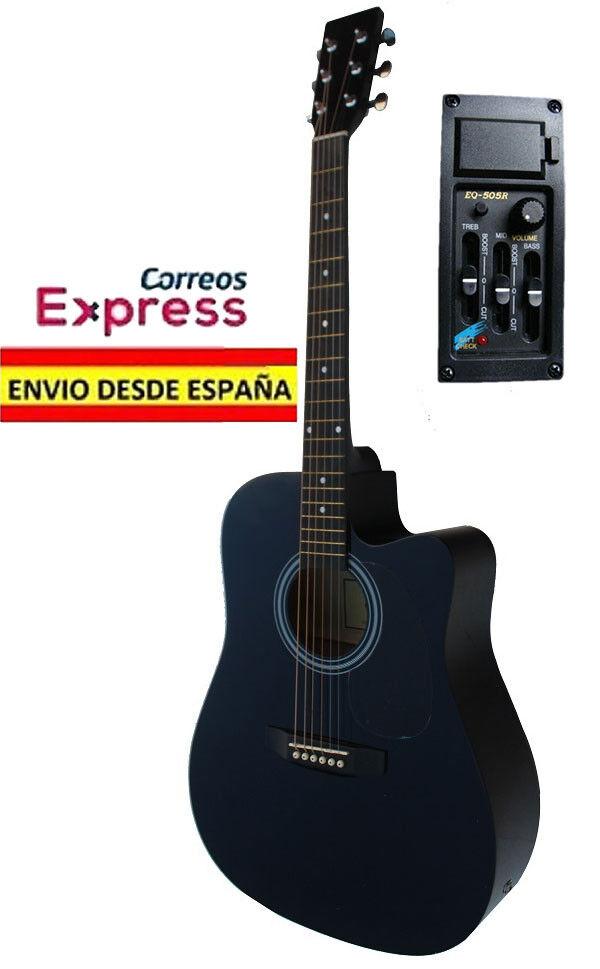 Guitarra Electro Acustica Negra. Nueva. Color Negro. Electroacustica Amplificada Amplificada Amplificada