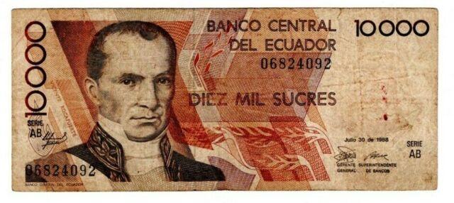 ECUADOR 10000 Sucres (1988) P-127a Serie AB Fine Banknote Paper Money