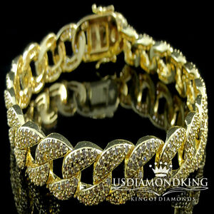 NEW-MENS-WOMENS-14K-YELLOW-GOLD-FINISH-ICED-OUT-LAB-DIAMOND-CUBAN-CURB-BRACELET