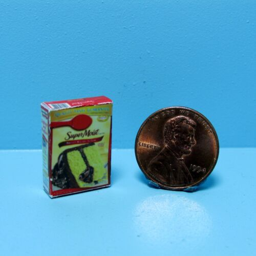 Dollhouse Miniature Replica Box of Super Moist Yellow Cake Mix ~ G012