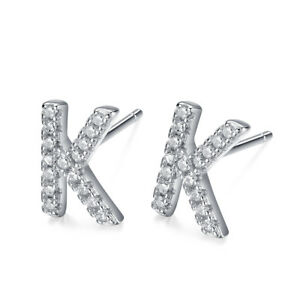 Image Is Loading Stunning Tt Rhodium 925 Sterling Silver Letter K