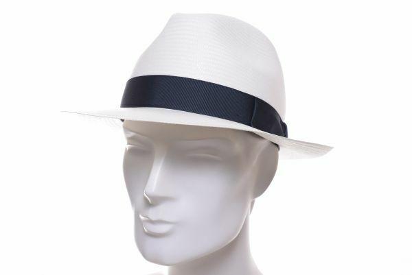 Borsalino Panama Fedora weiss/blau Strohhut Sommer Hut Bogart Hüte Stroh elegant